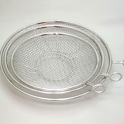 ステンレスのリング付盆ザル21cm