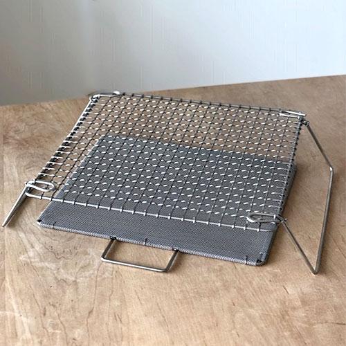 辻和金網 足付焼網(セット)正方形